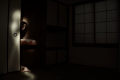 light portrait digital photography dark light chiaroscuro contrast flash streak glow blur japanese tatami room traditional paper windows oshiire closet sliding door girl young woman creepy horror long hair dark emerging hand bizarre surreal