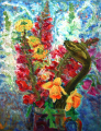 still life oil painting flowers colourful foxgloves red daffodils eel green moray surreal funny