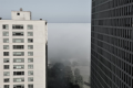 digital photograph tall buildings urban windows residential mist fog bank wall creepy weird half swallowed swallowing landscape trees park sky horizon