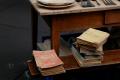 digital photograph flea market vintage wooden bench desk table old books pile  la lecture en famille portrait de jeune filles french antique