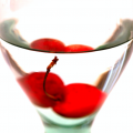 digital photograph water glass meniscus line cherry double siamese twin stuck stem magnification