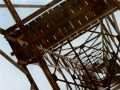 scaffold tower structure perspective vertigo dizzy looking upwards boards rails metal wood