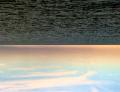 horizon water lake sea ocean waves placid bright sky sunset colorful pastels clouds streaky surreal upsidedown