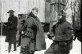 black and white film portrait photograph vintage retro WWII uniform young men winter snow