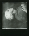 polaroid retro vintage black and white film impossible project border portrait white hair lying down