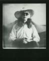 polaroid retro vintage black and white film impossible project border sun hat straw fur collar portrait
