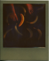 polaroid retro vintage impossible project color film gold frame naked feet bananas green unripe yellow ripe still life composition