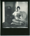 polaroid film vintage retro black white impossible project border young man guitar upside down crossed legged lotus sitting hippie 70's
