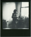 polaroid film vintage retro black white impossible project border young man sitting hugging knees window plants boxers naked