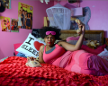 young african american woman girl bedroom pink dress stripe sunglasses kanye i love sleep pillow telephone retro vintage lipstick smile cord posters girly
