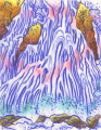 monoprint waterfall japanese style colorful woodcut print