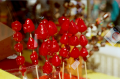 double multiple exposure lomography street market strawberries candy red stick skewer