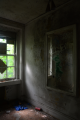 abandoned building mirror graffiti
