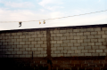 film photograph shoes hanging electrical line brick wall