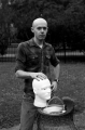 film photograph portrait black white drinking fountain mannequin head man posing