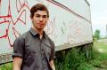 portrait young man boy graffiti