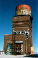 film graffiti abandoned building water tower urbex colorful blue sky
