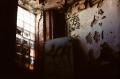 abandoned building film photograph window peeling paint