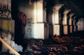 abandoned building film photograph graffiti rubble debris