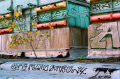 abandoned building film photograph graffiti roof colorful