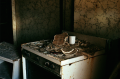 abandoned building film photography stove top