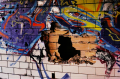 abandoned building film photograph graffiti wall broken bricks crumbling