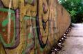 abandoned building film photograph wall colorful graffiti