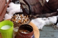 film photograph cigarette butts ashtray porch snow