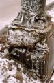 film photograph snow winter old slush drip salt texture lamp post
