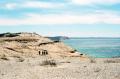 film photograph beach dunes sleeping bear michigan hikers blue