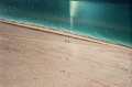 film photograph nature beach dunes sleeping bear michigan steep aerial view climbing waves water blue