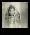 polaroid retro vintage cracked black and white portrait lady woman yoko ono asian wrapped up blanket sunglasses