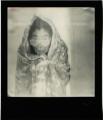 polaroid retro vintage cracked black and white portrait lady woman yoko ono asian wrapped up blanket sunglasses