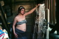 film photograph portrait young woman bokeh dreamy maternity crop top stripes flowers paint ladder