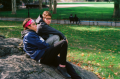 film photography portrait autumn two young men sitting in park
