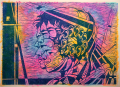 woodcut woodblock reduction print printmaking neon colored paper watercolor wash acid trippy psychedelic portrait prism lens fractal abstract geometric futurism young man profile