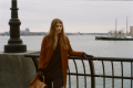 film photograph portrait young woman long hair blonde bokeh manhattan waterfront