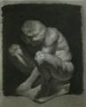 cast drawing charcoal black white tonal crouching boy statue