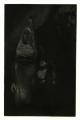 intaglio print mezzotint chiaroscuro dark shadow surrealist portrait young man banana suit costume del monte monkey stuffed animal holding