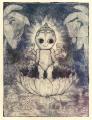 intaglio print etching spitbite  hard ground kewpie doll surrealism jungle banana tree lotus diamond cash credit card gold wealth pearls water