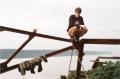 film photograph young man hudson river abandoned rusty hapa