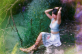 film photograph portrait young woman girl cosplay nature hapa gladiator sandals companion cube