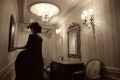 snorlax marie antoinette cosplay dress pokemon hapa zena hardtshaped turquoise lace hotel elysee nyc new york hat pokeball hallway mirror