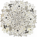 linocut relief print printmaking washi paper chine colle collage garbage trash dont litter mandala design