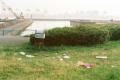 film photograph park grass trash can dock odaiba daiba japan tokyo scattered litter