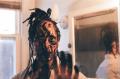portrait african american man dreadlocks suit face paint charcoal no slaves reaching hand
