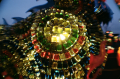 shiny glass mosaic decorative lit lantern fisheye lens