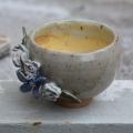 Floral Tea Bowl ceramics pottery handthrown wheel celadon glaze stoneware flowers floral