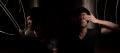 light portrait digital photograph dark light chiaroscuro contrast shadow streak flash line young asian man boy torso tshirt covering eyes hands ring gold signet class