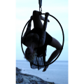 photograph of a girl posing on an aerial hoop ring lyra  black gauzy mystical blonde tattoos